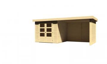 Sonderangebot: Woodfeeling Gartenhaus: Askola 3 im Set mit Anbaudach und 19 mm Seiten- Rückwand - 19 mm Flachdach Schraub- Stecksystem  - naturbelassen