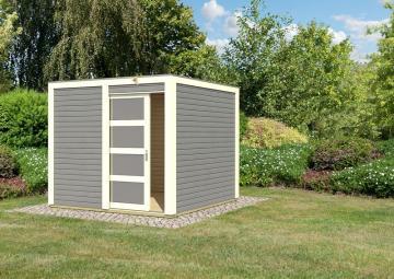 Karibu Holz-Gartenhaus Sparset Cubini 19 mm terragrau, inkl. 2 x selbstklebende Premium-Aluminiumfolie