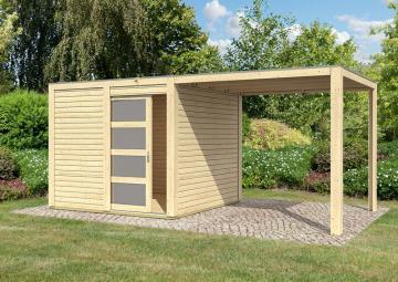 Karibu Holz-Gartenhaus Sparset Cubini 19 mm naturbelassen, inkl.selbstklebende Premium-Aluminiumfolie + Anbaudach 2,40 m breit