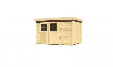 Woodfeeling Gartenhaus: Multifunktionshaus Laura 4 mit Anbauschrank mit Doppelflügeltür in der Seite - 19 mm Flachdach Schraub- Stecksystem  - naturbelassen