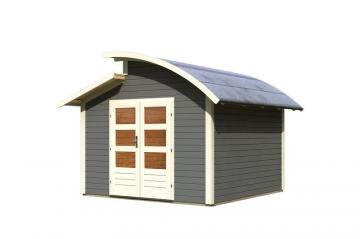 Karibu Gartenhaus Almelo Stufendach 28 mm System - terragrau