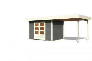 Karibu Gartenhaus Multi Cube 3 im Set mit Schleppdach Breite 3,00 mit selbstklebender Folie als Dacheindeckung - 28 mm Wandstärke Eco Steck- und Schraubsystem Flachdach  - terragrau