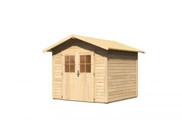 Woodfeeling Gartenhaus Linau 4 Satteldach 28 mm System - natur