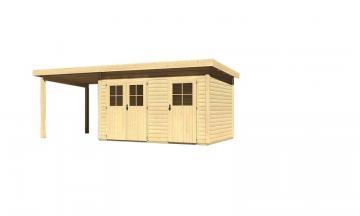 Angebot: Woodfeeling Zweiraum Gartenhaus Set Tintrup, inkl. Fußboden, Anbaudach und Dachfolie