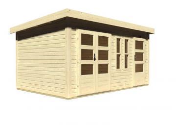 Angebot: Woodfeeling Zweiraum Gartenhaus Set Schönbuch 2, inkl. Dachrinne und Dachfolie - naturbelassen