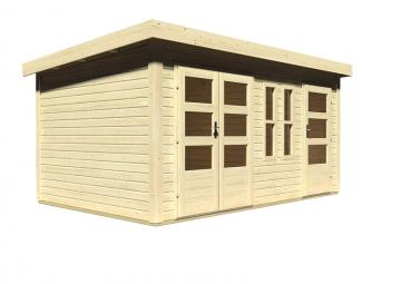 Woodfeeling Holz-Gartenhaus Schönbuch 2 Flachdach 40 mm Mittelwandhaus - natur
