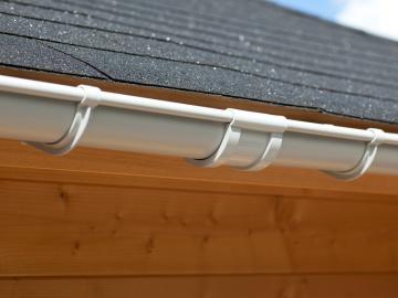 Karibu PVC Dachrinnen Set für Anbauoptionen inkl. Fallrohr und Verbindungsmaterial