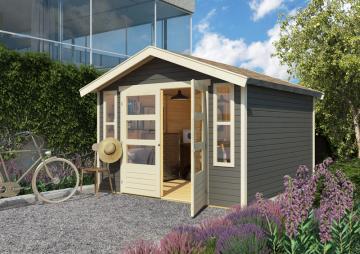 Karibu Holz-Gartenhaus  19mm Auburg 6 inkl. Türversion modern terragrau