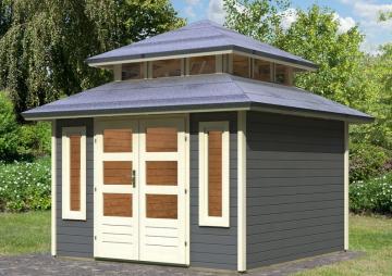 Karibu Gartenhaus Halland Pagodendach 28 mm System - terragrau