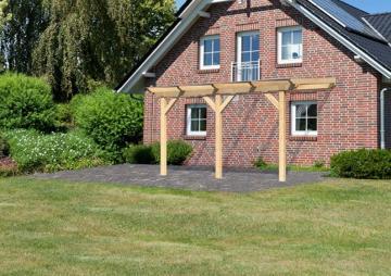 Karibu Holz Terrassenüberdachung Modell 1 Classic - Größe B (250 x 402) cm - Leimholz natur