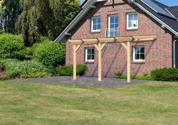 Karibu Holz Terrassenüberdachung Modell 2 Classic - Größe B (300 x 402) cm - Leimholz natur