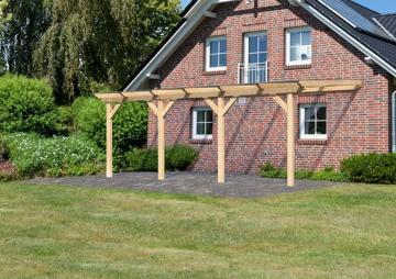 Karibu Holz Terrassenüberdachung Modell 3 Classic - Größe C (350 x 604) cm - Leimholz natur