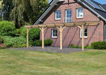 Karibu Holz Terrassenüberdachung Modell 2 Premium - Größe C (300 x 714 cm) - Douglasie rund