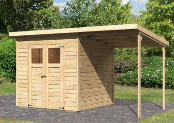 Sonderangebot: Karibu Holz-Gartenhaus Merseburg 4 im Set mit Anbaudach  - 14 mm Pultdach im Steck- und Schraubsystem  - naturbelassen