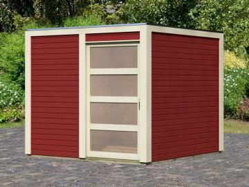 Karibu Holz-Gartenhaus Sparset Cubini 19 mm kastanienrot, inkl. 2 x selbstklebende Premium-Aluminiumfolie