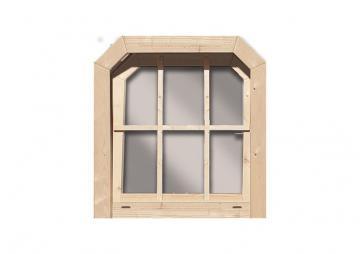 Karibu Gartenhausfenster Dreh-/Kipptechnik friesenstil für 40 mm Wandstärke - natur