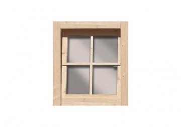 Karibu Gartenhausfenster Dreh-/Kipptechnik rechteckig für 28 mm Wandstärke - natur