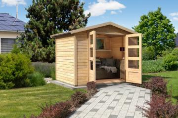 Woodfeeling Karibu Holz Gartenhaus Amberg 1 in naturbelassen (unbehandelt)