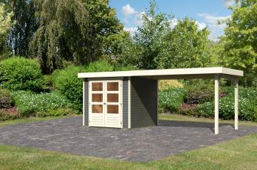 Woodfeeling Karibu Holz-Gartenhaus Askola 2 im Set mit Anbaudach 2,80 m Breite in terragrau
