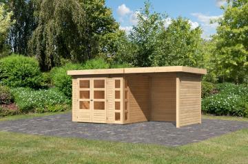 Woodfeeling Karibu Holz Gartenhaus Kerko 3  im Set mit Anbaudach 2,40 m Breite und 19 mm Seiten- Rückwand in naturbelassen (unbehandelt)