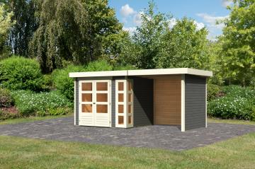 Woodfeeling Karibu Holz Gartenhaus Kerko 3  im Set mit Anbaudach 2,40 m Breite und 19 mm Seiten- Rückwand in terragrau