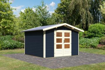 Woodfeeling Karibu Holz Gartenhaus Einbeck 1 40mm Blockbohlenhaus in opalgrau