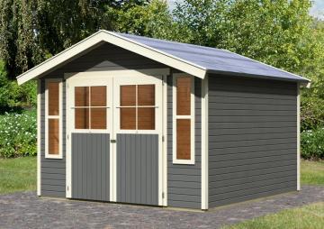 Karibu Gartenhaus Auburg 7 Satteldach 19 mm System- terragrau
