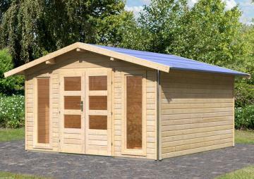 Karibu Gartenhaus Bensburg 2 Satteldach 40 mm System - natur