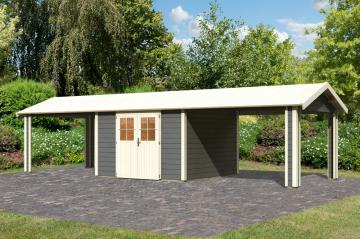 Karibu Holz-Gartenhaus  28mm Espelo 7 im Set mit 2 Dachausbauelement terragrau