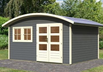 Karibu Gartenhaus Friedland 3 Tonnendach 28 mm System - terragrau