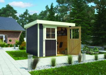 Karibu Holz-Gartenhaus  19mm Limburg 5 im Set mit Anbaudach  2,40 m Breit und Anbauschrank terragrau