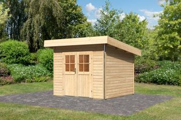 Karibu Holz-Gartenhaus  40 mm Moosburg 1 Türversion classic naturbelassen