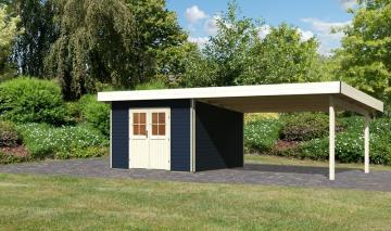 Karibu Holz-Gartenhaus  40 mm Moosburg 3 Türversion classic im Set 4 m Anbaudach opalgrau