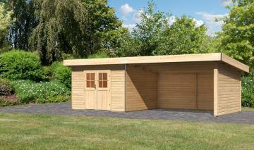 Karibu Holz-Gartenhaus  40 mm Moosburg 3 Türversion classic im Set 4 m Anbaudach Seiten- und Rückwand naturbelassen