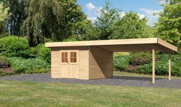 Karibu Holz-Gartenhaus  40 mm Moosburg 3 Türversion classic im Set 4 m Anbaudach naturbelassen