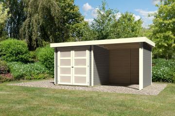 Karibu Holz-Gartenhaus  19mm Mühlendorf 2  im Set mit Anbaudach 2,40 m Breite und 19 mm Seiten- und Rückwand terragrau