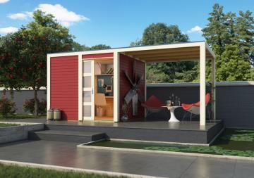 Karibu Holz-Gartenhaus  28mm Qubic im Set mit Anbaudach  kastanienrot inkl. Alu-Dachbahnrollen