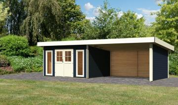 Karibu Holz-Gartenhaus  40 mm Moosburg 3 Türversion classic im Set 4 m Anbaudach Seiten- und Rückwand opalgrau