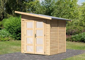 Karibu Gartenhaus Teplitz 2 Pultdach 19 mm System - natur