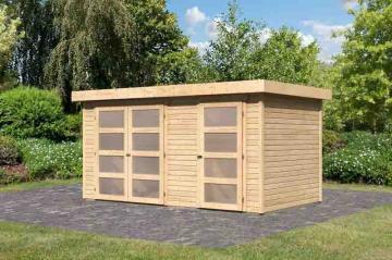 Woodfeeling Karibu Holz-Gartenhaus Mühlentrup in naturbelassen (unbehandelt)