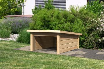 Woodfeeling Karibu Holz Garage 19 mm Haus für Mähroboter 2 in naturbelassen (unbehandelt)
