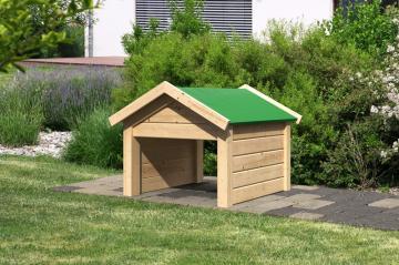 Woodfeeling Karibu Holz Garage 19 mm Haus für Mähroboter Satteldach in naturbelassen (unbehandelt)