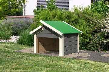 Woodfeeling Karibu Holz Garage 19 mm Haus für Mähroboter Stufendach in terragrau