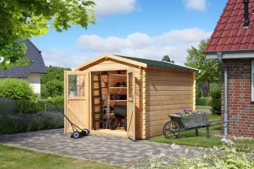 Woodfeeling Karibu Holz Gartenhaus Seefeld 4 in naturbelassen (unbehandelt)