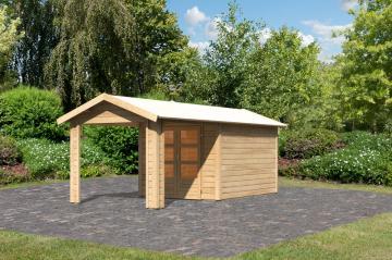 Woodfeeling Karibu Holz-Gartenhaus Tastrup 4 im Set mit 1 Dachausbauelement in naturbelassen (unbehandelt)