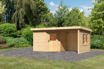 Woodfeeling Karibu Holz Gartenhaus Neuruppin 2 im Set mit einem Anbaudach Breite 2,35 m und 28mm Seiten- und Rückwand inkl. einem Fenster zum Selbsteinbau  in naturbelassen (unbehandelt)