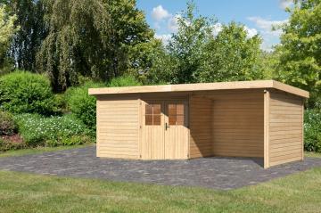 Woodfeeling Karibu Holz-Gartenhaus Neuruppin 4 im Set mit einem Anbaudach Breite 2,95 m und 28mm Seiten- und Rückwand in naturbelassen (unbehandelt)