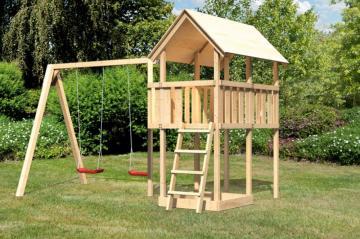 Woodfeeling Spielturm Daniel mit Satteldach im Set Schaukelanbau Doppel - naturbelassen