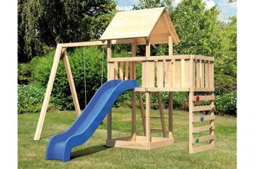 Woodfeeling Spielturm Daniel mit Satteldach im Set mit Anbau und Rutsche blau 2,5 m Schaukelanbau einzel - naturbelassen