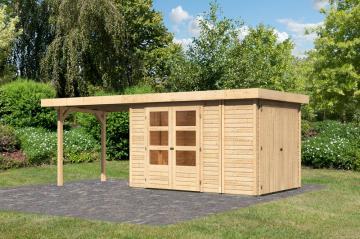 Woodfeeling Karibu Holz Gartenhaus Retola 3 inkl. Anbauschrank und Anbaudach 2,80 m Breite in naturbelassen (unbehandelt)